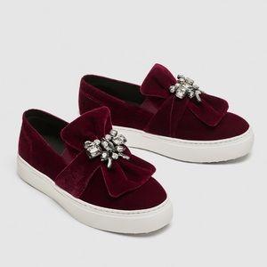 Zara burgundy velvet sneakers with beaded bow